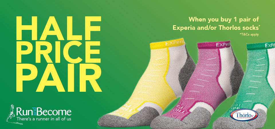 Half price pair, when you buy 1 pair of Experia and/or Thorlos socks. T&Cs apply.